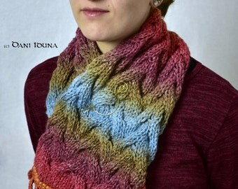 """Scarf """"Sunset"""" with pin / Colourful scarf with pin and border / Unique piece"""