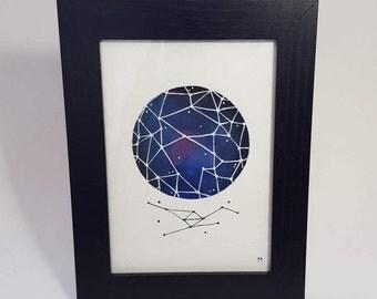 Original 5x7 Watercolour Painting - Starry Constellation Ball