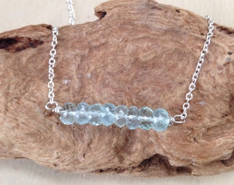 Aquamarine Necklace: Bar Necklace, Gemstone Bar Necklace, Silver Gemstone Jewelry, Aquamarine Crystal, Raw Aquamarine, March Birthstone