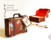 Printed Papercraft DIY Paper Toy / Gift Box / Favor Box   Travel Mini Suitcase- Brown Leather Design   Pre-cut Pre-creased   Wedding Party