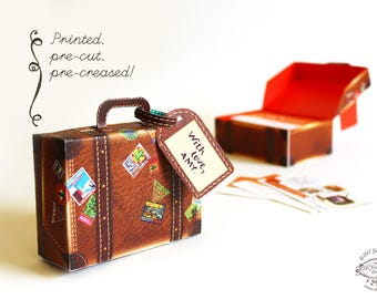 Printed Papercraft DIY Paper Toy / Gift Box / Favor Box | Travel Mini Suitcase- Brown Leather Design | Pre-cut Pre-creased | Wedding Party
