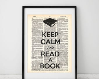 Keep calm and read book Dictionary art print - Upcycled dictionary art - Book print page art #048