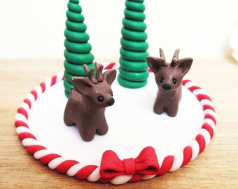Reindeer Christmas Cake Topper / Reindeer Christmas Miniature Ornament / Reindeer Christmas Cake Decoration