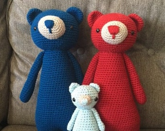 Tall Teddy Bear Family (Whole Set) Crocheted Stuffed Animal/Toy (Made to Order)