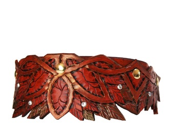 Elven Hand Tooled Leather Dog Collar (Antique Finish w/Gold)