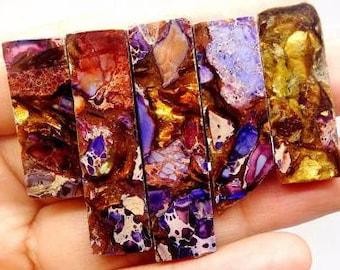 45mm Purple Sea Sediment Jasper with Golden Bornite 45mm Gemstone   5 piece Pendant Bead Set  Imperial Jasper