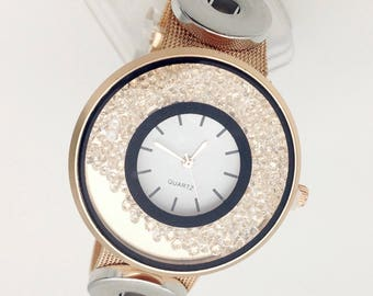 Rose Gold Crystal Watch Snap Button 18 mm