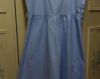 "Vintage 1950 Light Blue Sleeveless Dress, Bust 32"""