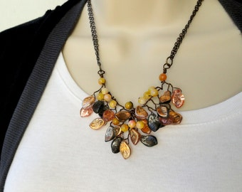 Vine,twig,brown,black,yellow,mustard yellow,beaded,Necklace,Earrings set,wire,twisted,floral necklace ,brown beaded necklace,black necklace