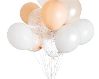 Engagement Balloons, Peach Baby Shower, Blush Wedding Decor, Confetti Balloons, Engagement Photo Prop, Peach balloons, Copper Wedding Decor