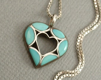 """Vintage Native American NAVAJO Turquoise HEART Pendant Charm Inlay Gemstones Sterling Silver 18"""" CHAIN c.1970s, Gift for Her"""