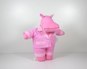 Hippo in pajamas - Pink doll PJs on a hippo soft toy - Hippo soft doll to dress - Polka dot pajamas - Handmade unique gifts for kids