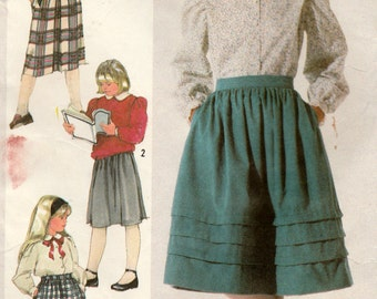 Simplicity 7723 Sewing Pattern, Girl's Gathered Skirt with Waistband, Back Zipper and Side Seam Pockets, Size 14, Used Vintage Pattern
