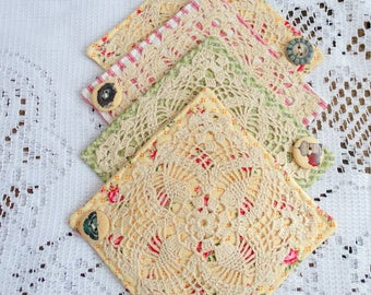 Set of Four {4} Fabric Coasters, Doily Coasters, Shabby, Roses, Pink, Free USA Shipping