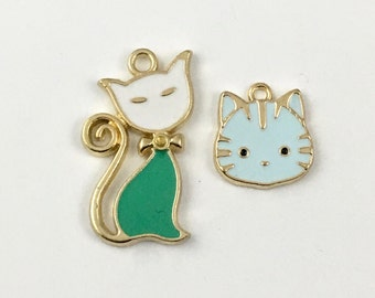 2 cat charms gold and enamel , 15mm to 25mm # CH 353