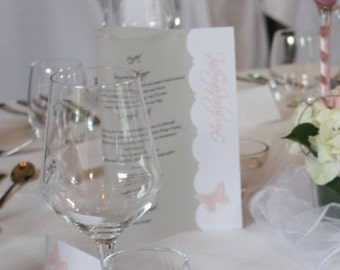 Menu transparent heart with Butterfly (white/pink)