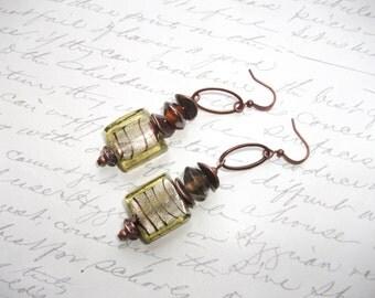Green Murano glass tile copper earrings
