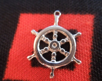 Sterling Ships Wheel Charm Vintage Ships Wheel Charm Sterling Silver Charm for Bracelet from Charmhuntress 04158