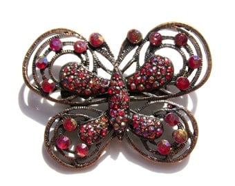 Vintage Rhinestone Butterfly Brooch Red Pink Rhinestones Vintage Butterfly Brooch Brass Brooch Butterfly Pin Large Butterfly Brooch
