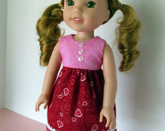 Handmade 14.5 in. doll clothes - Red, pink, Valentines hearts print dress, made to fit 14.5 inch dolls such as Wellie Wishers