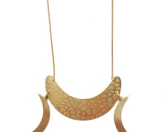 SALE-Luna Necklace with Gold Crescent and Magic Moons