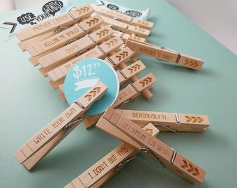 Personalized Magnetic Clothespins - PKG OF 7