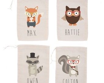 Woodland Hipsters {set of 10} Personalized Party Favor Bags