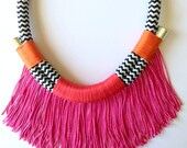 SALE Chibale Neckpiece || Hot Pink Coral Orange Chevron Fringed Tribal African Boho Rope Statement Necklace