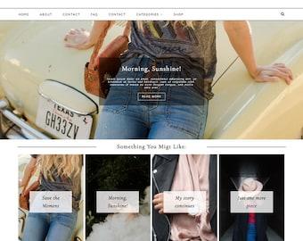 "Wordpress Theme ""Marseille""   Responsive Magazine Style Layout Premade Blog Design Template"