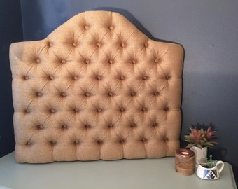College Dorm Room Diamond Tufted Upholstered Headboard with Curved Top and Velcro Back Attachment in Linen, Velvet or Wool Upholstery Fabric