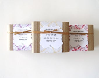 Pick 3 Handmade Soaps, Cold Process Soap, Full Size 4.5oz Soaps, Soap Set
