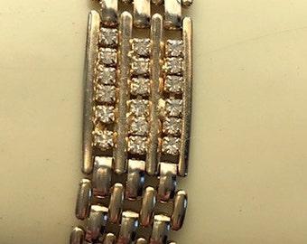 Goldtone and CZ Link Bracelet - Vintage Cubic Zirconia Costume Jewelry Link Bracelet - Retro High Fashion