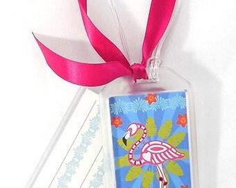 Skelly Luggage Tag: Tropical Flamingo