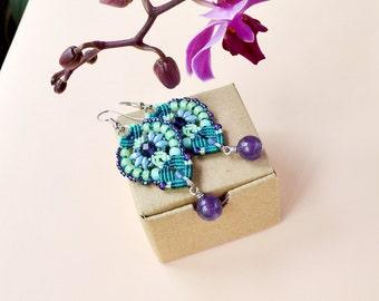 Beaded micro-macrame earrings, bohemian jewelry, long, dangle, flower, beadwork, teal mint purple blue, quartz, gemstone, gift idea for her