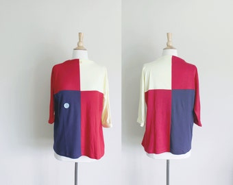 1960s Mod Sweater | Cotton Sweater | Colorblock Top | Boatneck Sweater | Colorblock Sweater |  Colorblock Blouse | New Old Stock | Large