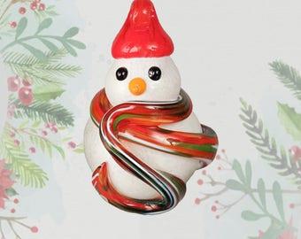 Snowman Ornament, Christmas Ornament, Handmade Ornament, Glass Ornament, Handblown Glass Ornament