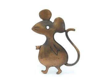 Vintage Copper Mouse Brooch, Figural