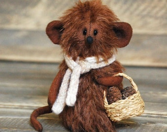 Brown Mohair Mouse Handmade mouse Toy Mouse Stuffed Mouse Animal Country Mice Decorations Woodland Animals Mother's day Gift Fall decor