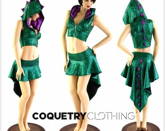 2PC Green Fish Scale Zipper Front Sleeveless Crop Hoodie / Purple Fish Scale Spikes & Hood Liner / Matching Dragon Tail Skirt 154045