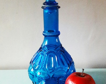 Striking Vivid Blue Glass Vintage Italian Genie Bottle - 1970s