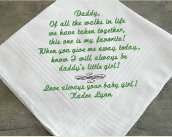 Wedding Message Handkerchief for Dad, father of the bride, father of the groom, personalized monogram, custom hankies,embroidered hanky