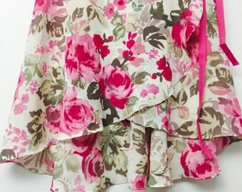 Hot pink and green ballet wrap skirt - Long