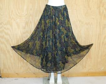 Vintage 1980's ZACHI Crinkle Rayon Leaf Print Kuchi Bell Hippie Broomstick Maxi Skirt S / M