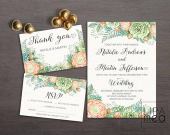 Watercolor Wedding Invitation Floral Wedding invitation Autumn Fall Wedding Invitation Greenery Printable Wedding Invitation Green Succulent