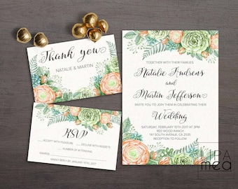 Greenery Wedding Invitation Floral Wedding invitation Green Printable Wedding Invitation Watercolor Spring Wedding invitation Botanical