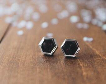 Chocolate Brown hexagon glitter stud earrings, sparkling posts, CuteBirdie
