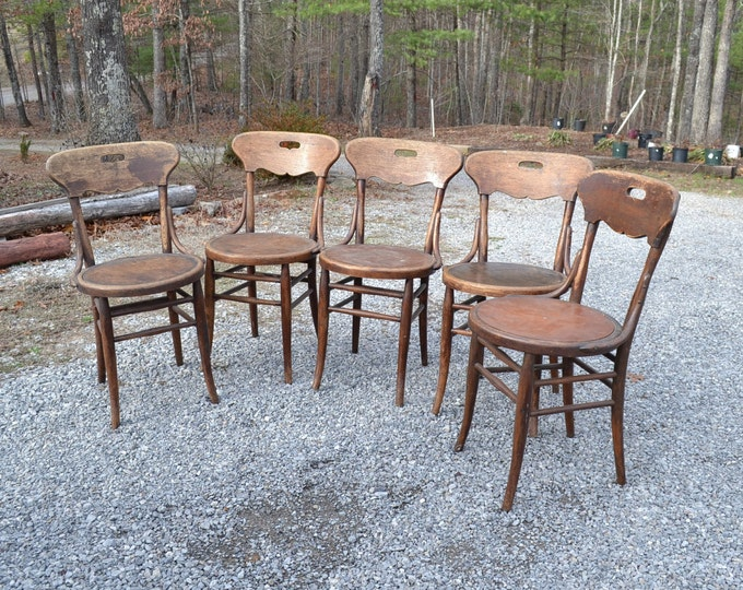 Vintage Bentwood Chair Set of 4 Cafe Bistro Antique Dining Ice Cream Parlor Wooden Furniture PanchosPorch
