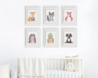 Woodland Animals Printables|Art Above Crib|Rustic Nursery Theme|Woodland Animals Set|Forest Friends|Nursery Forest Art|Baby Fox Wall Art