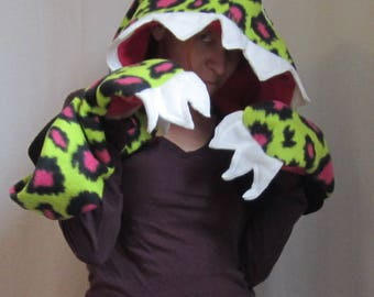 Radio-Active Monstar Hood - monster animal hat - scoodie mutant lime green leopard pink black claws munch scary friendly Halloween autumn