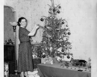 Vintage Photo..Mom Decorating the Christmas Tree, 1950's Original Found Photo, Vernacular Photography